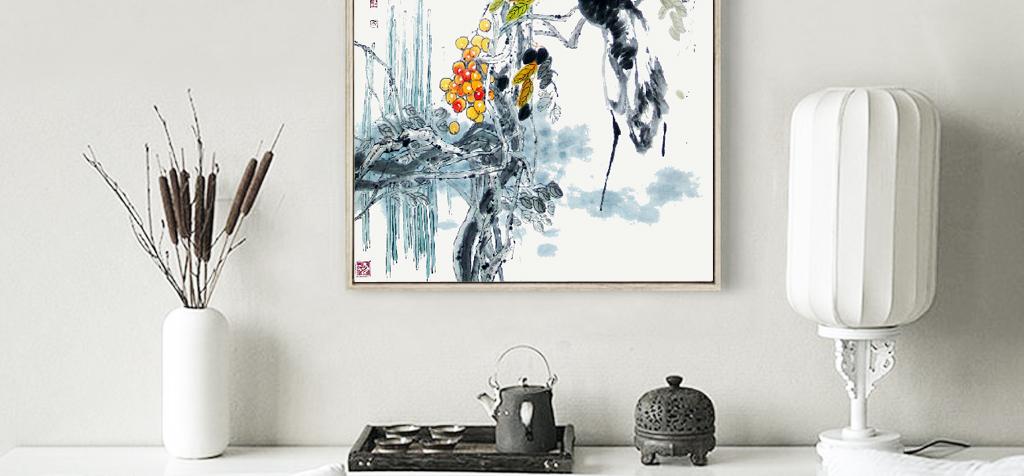 禅意手绘中式工笔画彩绘花鸟风景宣纸壁画