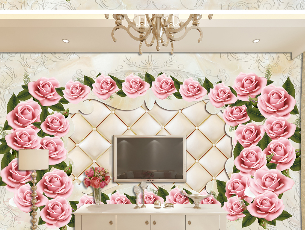 3d软包手绘玫瑰花欧式石纹电视背景