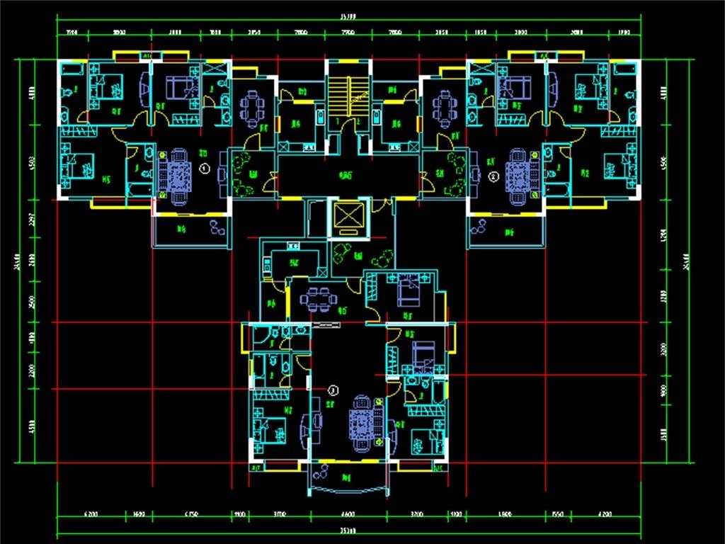 三户户型设计图小高层户型平面布局装修图两室两厅户型图三室两厅大