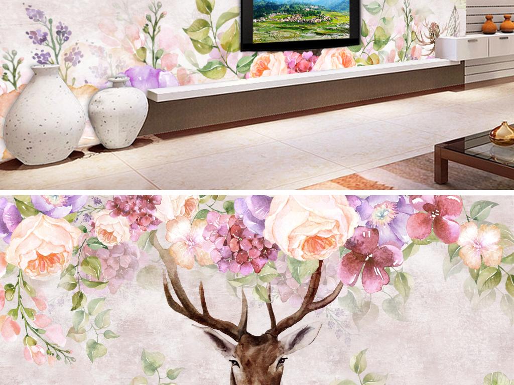 鹿手绘水彩花卉背景墙
