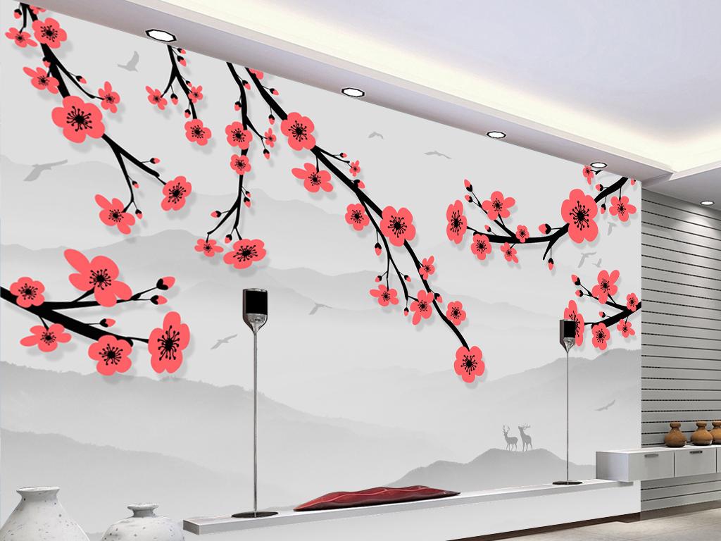 新中式手绘梅花麋鹿水墨山水画电视背景墙