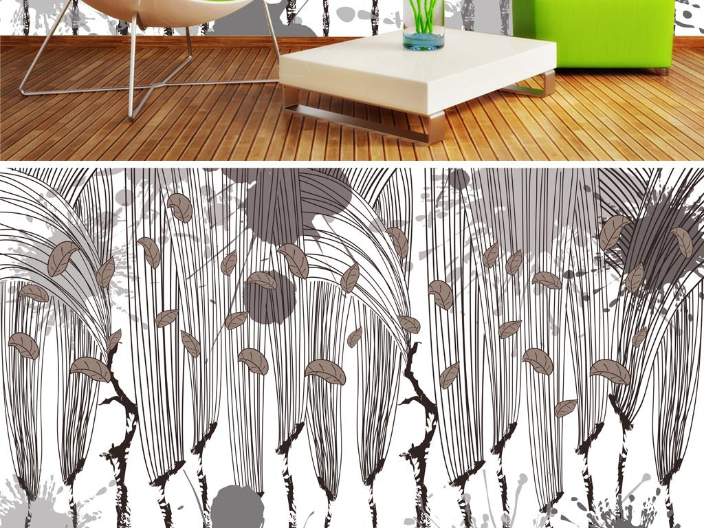 北欧风格手绘森林大树电视背景墙
