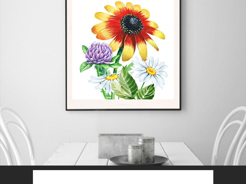 水彩手绘向日葵植物装饰画