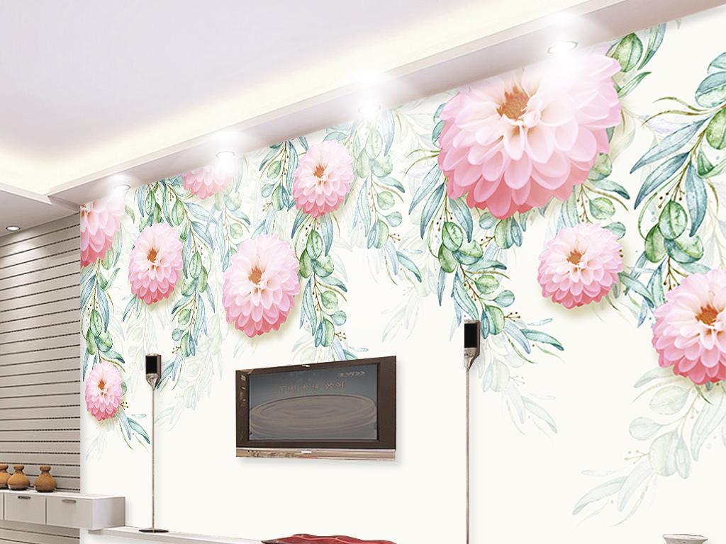 小清新手绘植物花卉电视背景墙