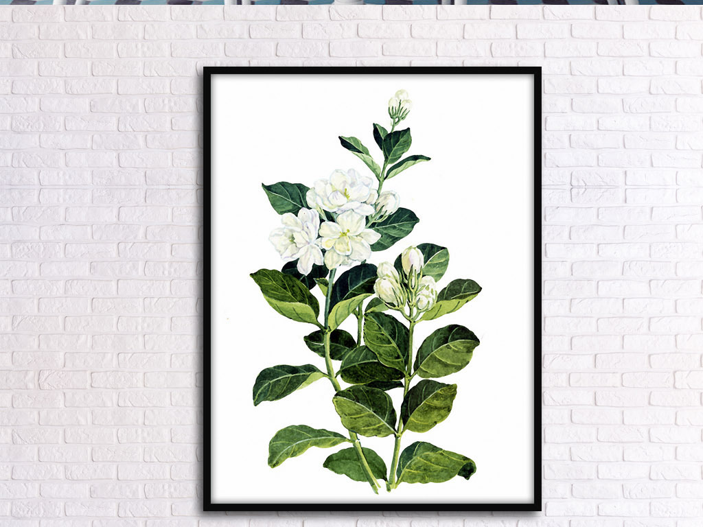 桔子花开北欧小清新欧式手绘现代家居装饰画
