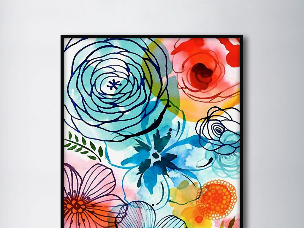 手绘水彩花卉欧美现代风格北欧家居装饰画