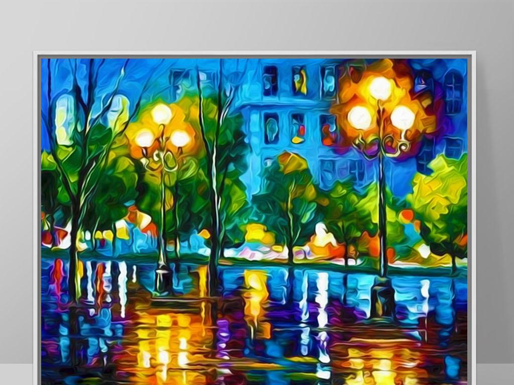 炫丽迈阿密夜景美式手绘现代酒店酒吧装饰画