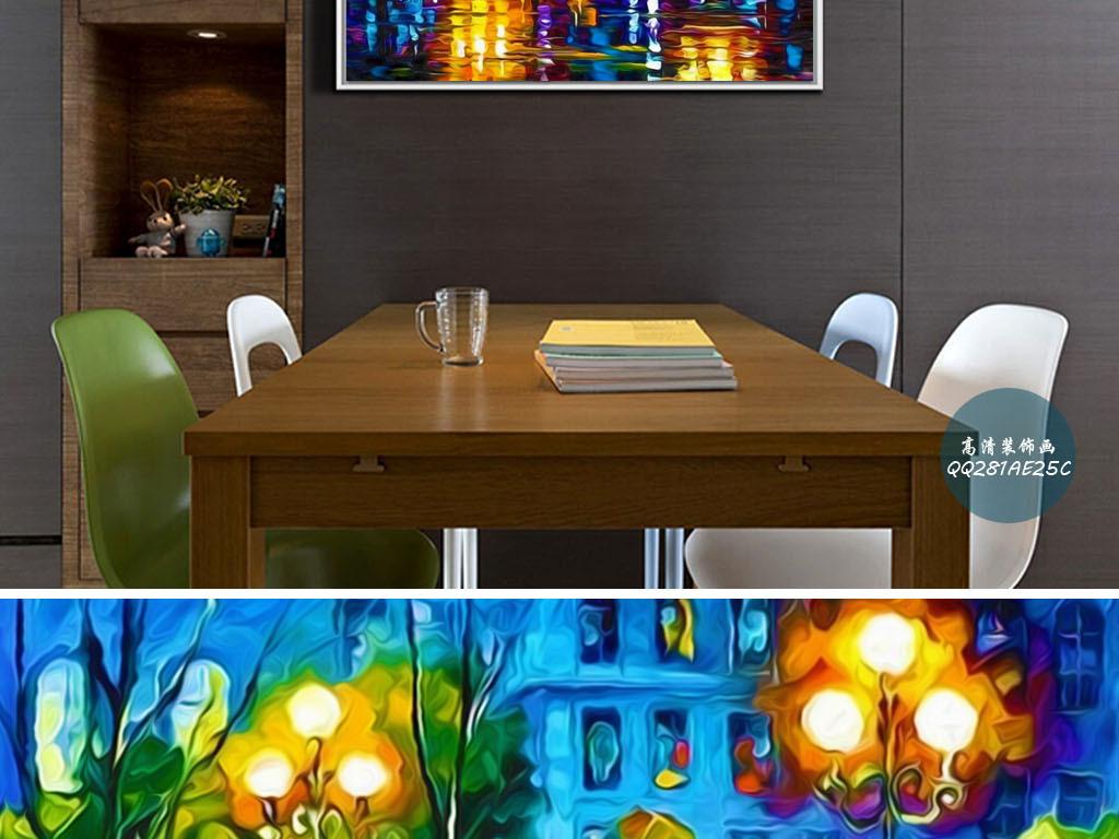 酒店手绘夜景装饰画炫丽背景炫丽底纹炫丽图片炫丽