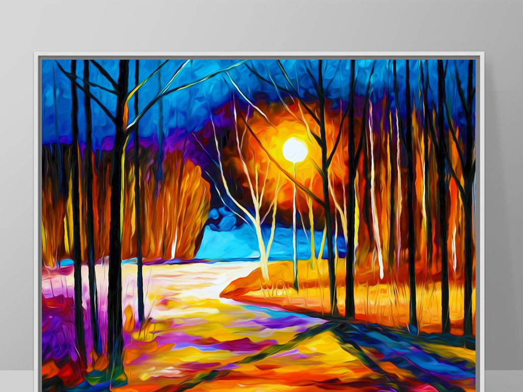 手绘别墅客厅卧室室内潮风格装饰画无框画油画画芯挂画风景树林月亮色