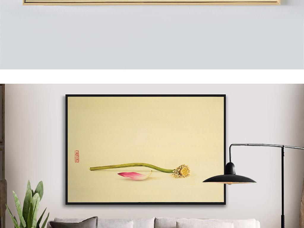 新中式荷花唯美装饰画工笔画手绘墙