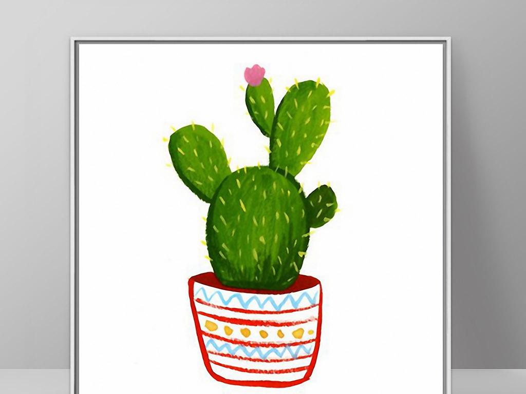无框画 植物花卉无框画 > 仙人掌盆栽北欧小清新欧式静物手绘装饰画