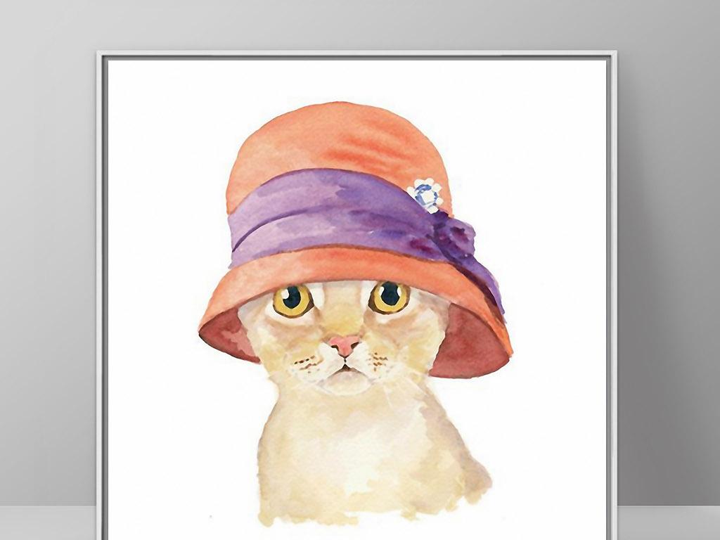 戴帽子淑女猫咪可爱北欧小清新欧式装饰画