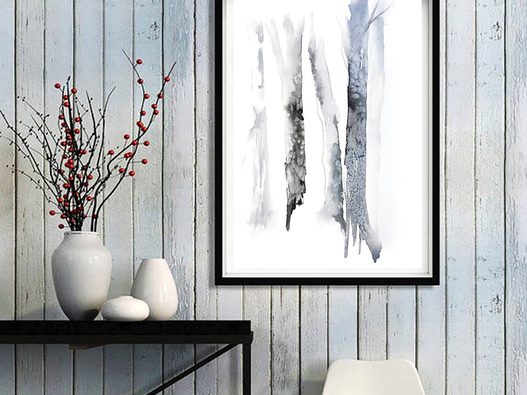 水墨淡雅树枝新中式手绘黑白树枝装饰画
