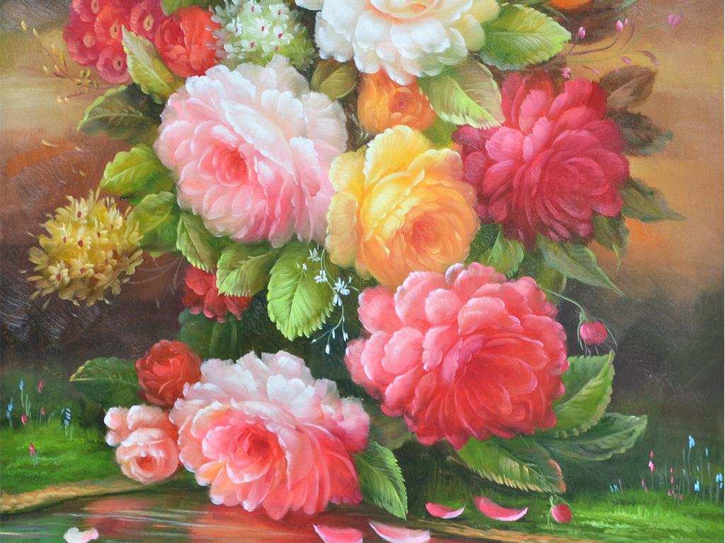 高清纯手绘花瓶静物艺术油画玄关
