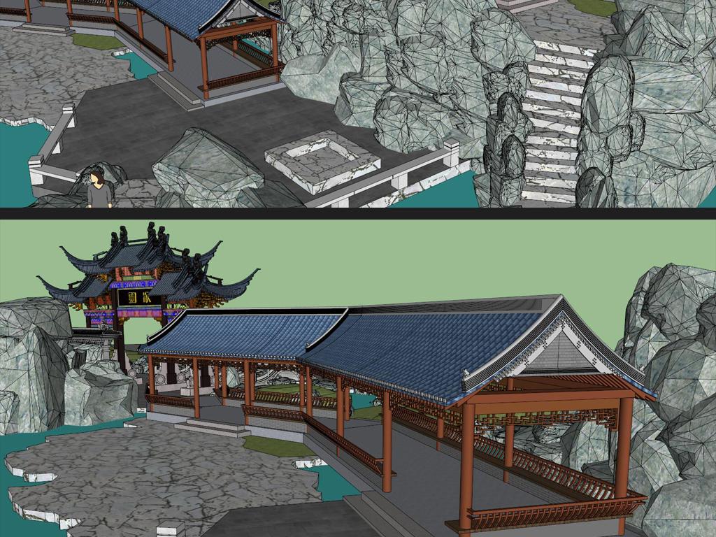 古典园林中式su模型