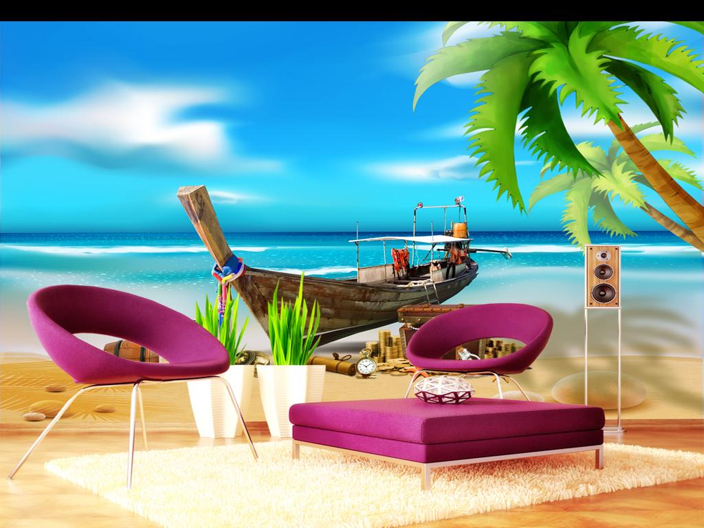 墙画壁画墙纸背景墙沙发背景公主房床头背景海岛