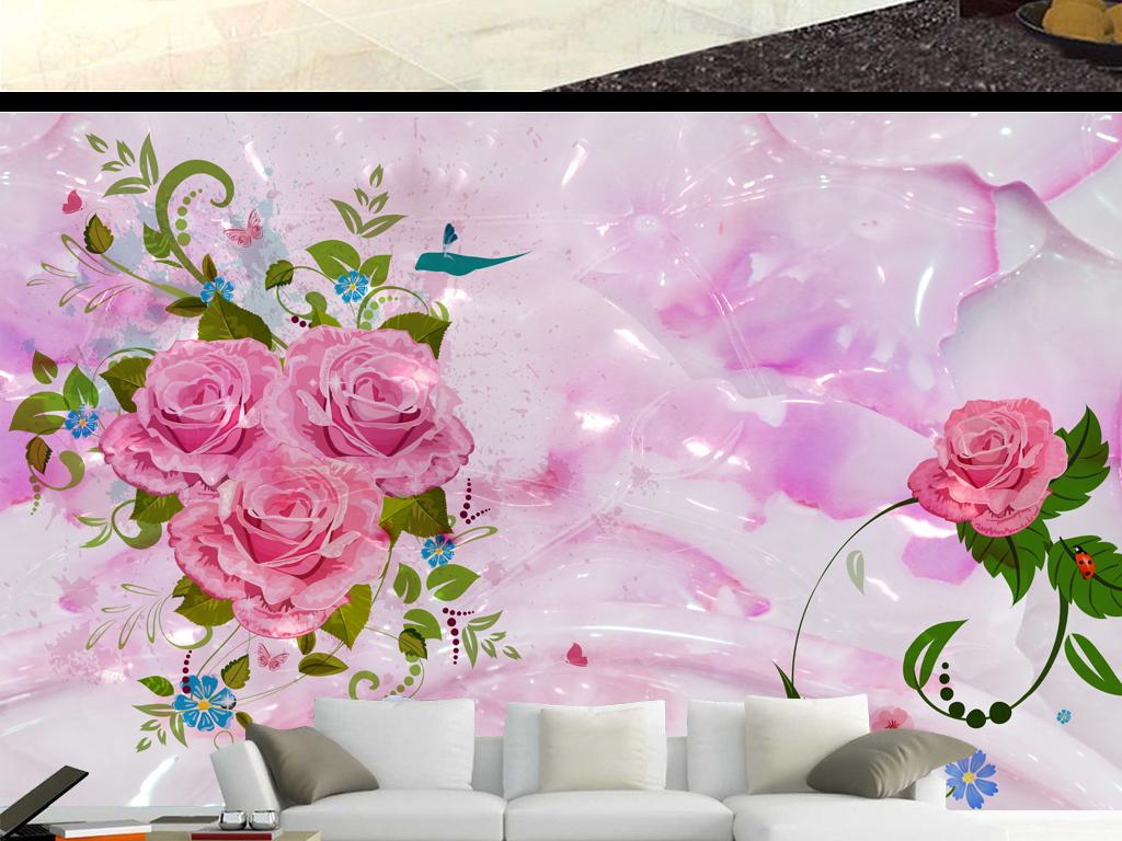 手绘玫瑰花浪漫玉石背景墙(图片编号:16017575)