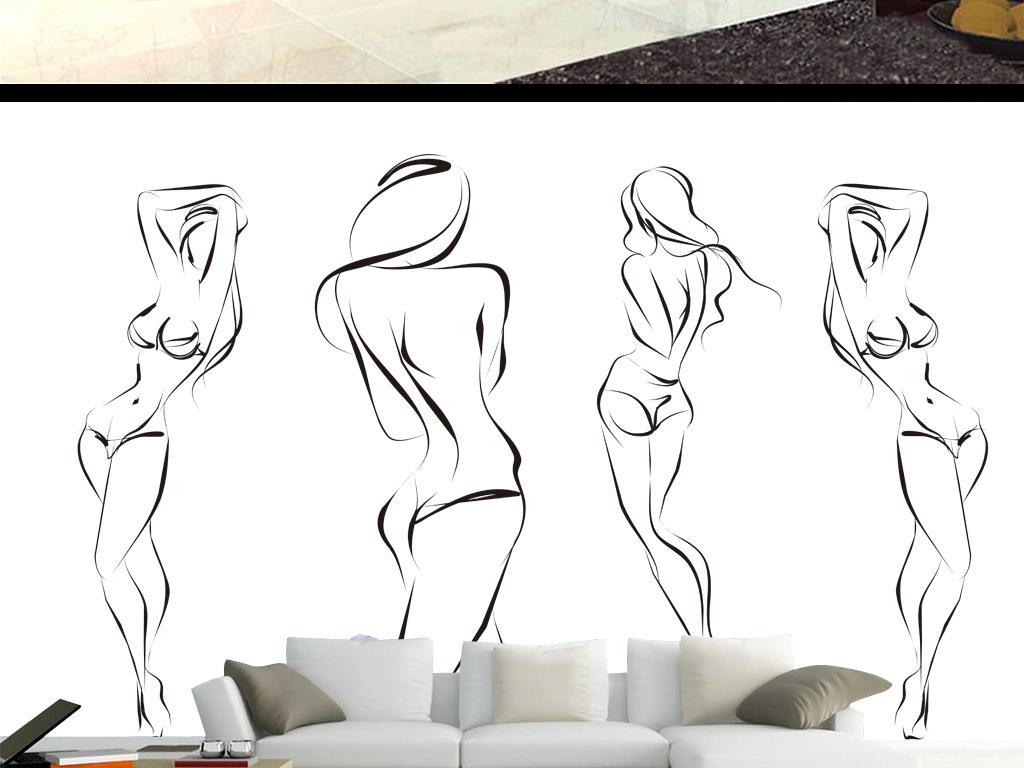 手绘素材女性背景墙