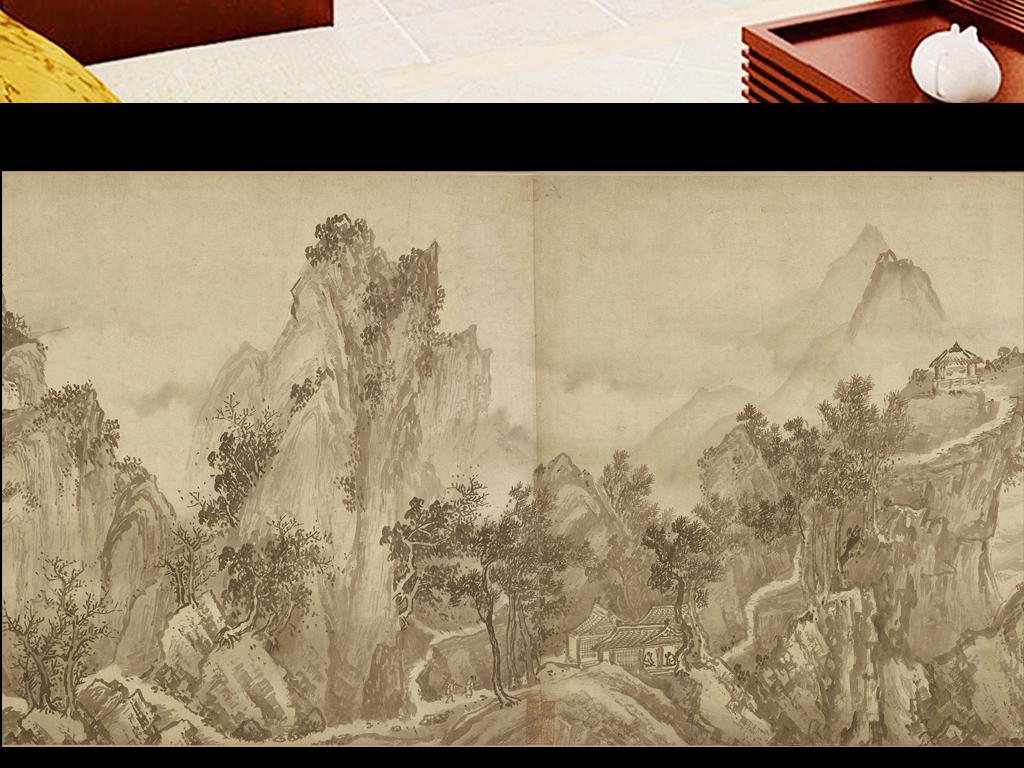 新中式山水画                                  手绘