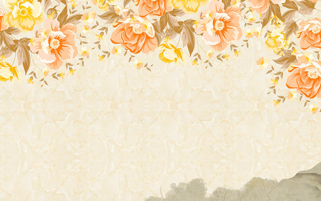 手绘鲜花                                  大理石背景