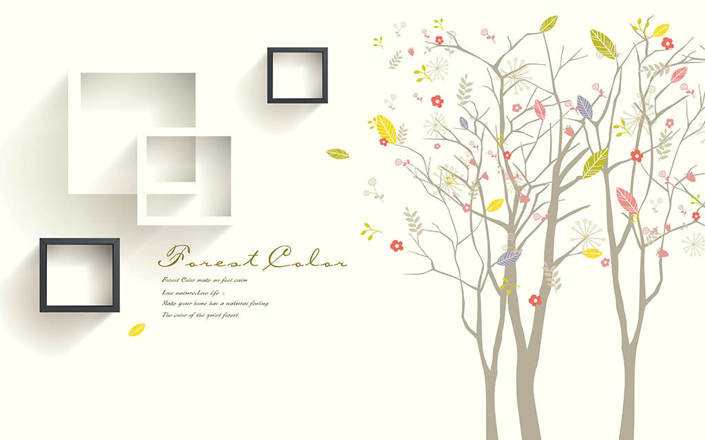 手绘树木唯美3d背景墙