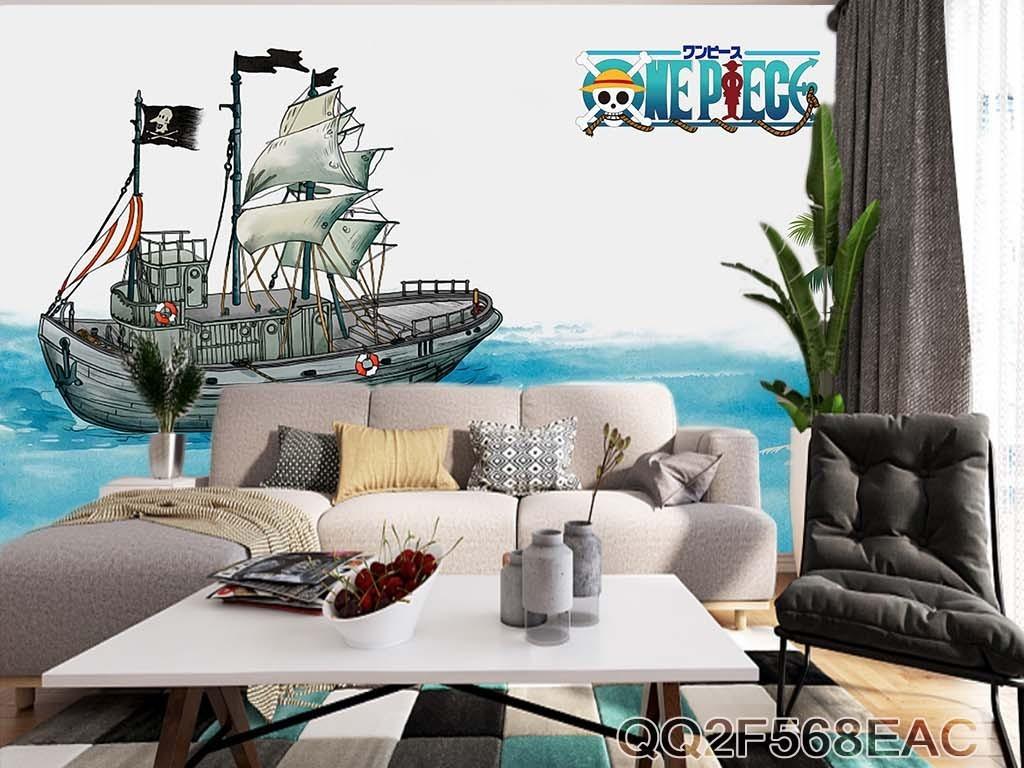 手绘儿童卡通海盗船动漫装饰背景墙