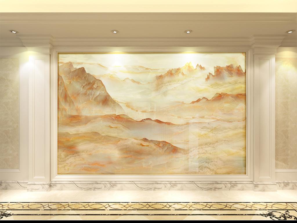 我图网提供精品流行大理石纹石材锦秀山河客厅背景墙