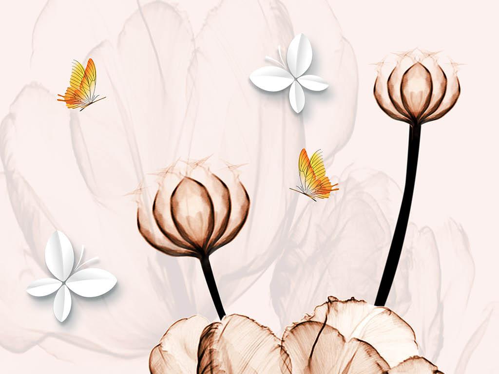 花朵复古花卉花朵花卉背景梦幻花卉手绘花卉线描花卉白描花卉花卉油画