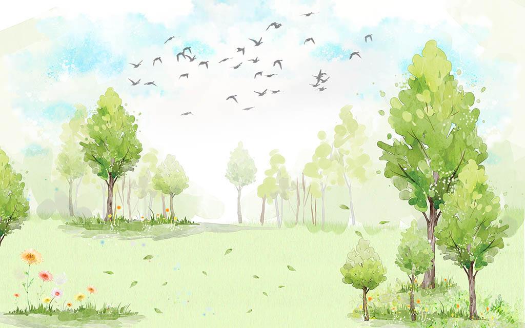 水彩树林现代背景墙