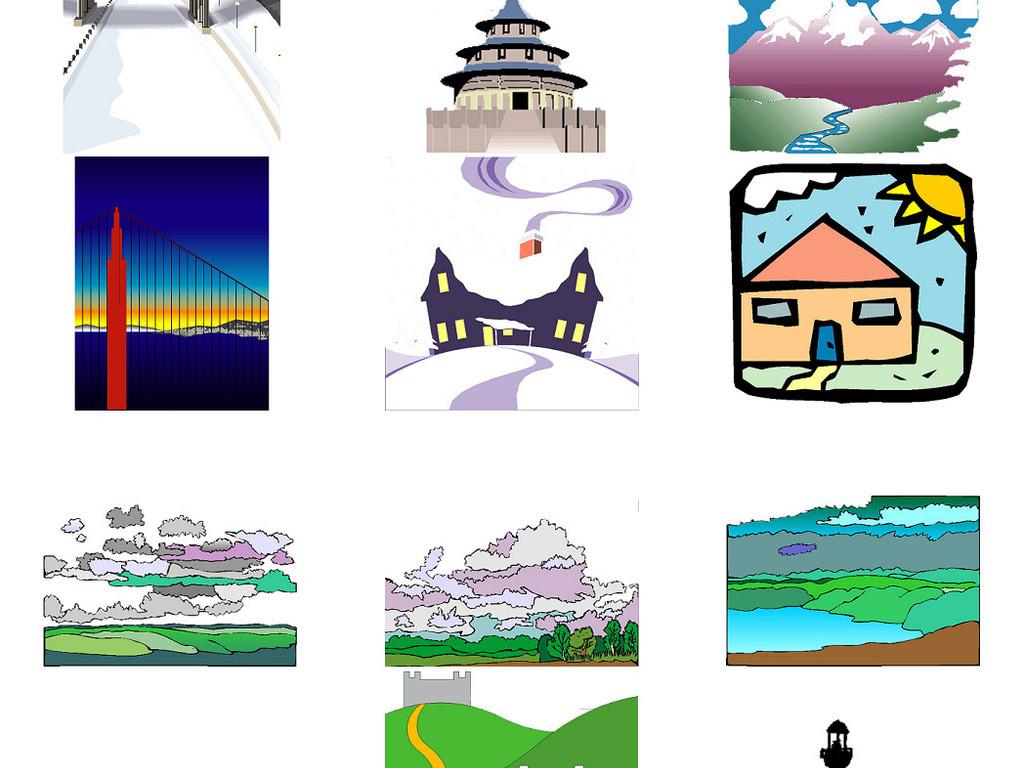 卡通桥梁建筑风景免抠png透明素材