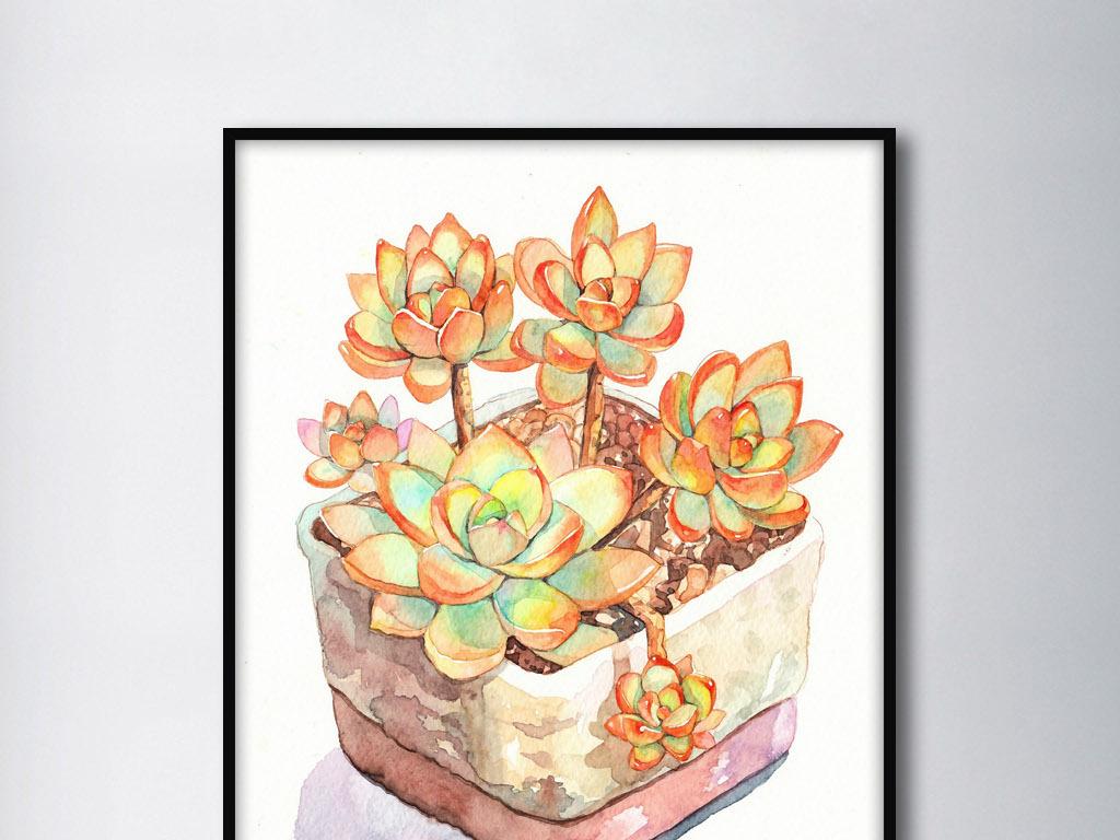 落地生根多肉植物盆栽静物欧式家居装饰画