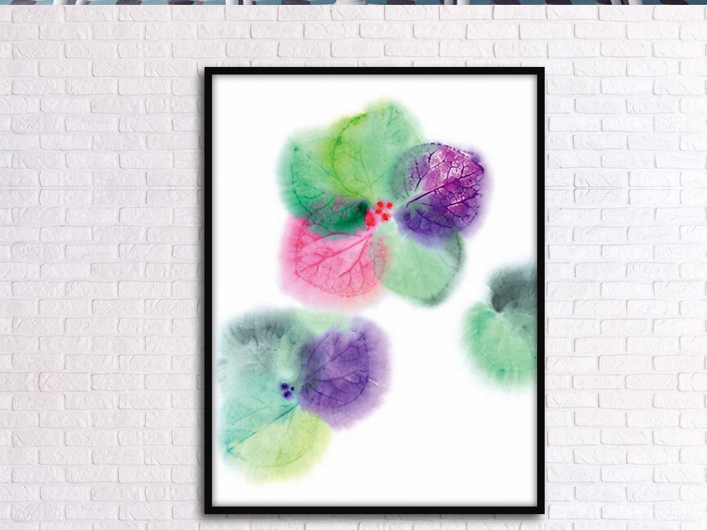 花草欧式现代手绘水彩花卉北欧小清新装饰画