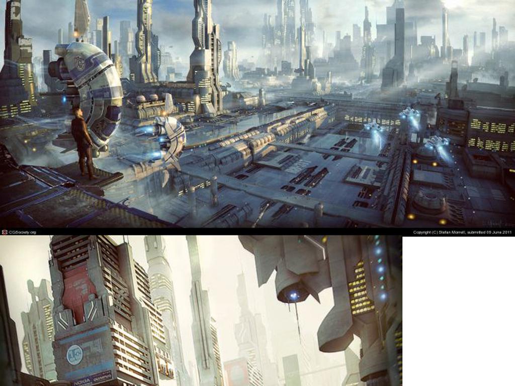 3d外太空科幻城市元素军事基地空间站模型图片