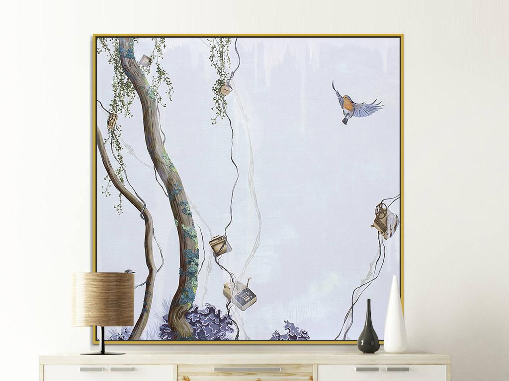 20:29 我图网提供精品流行书房北欧创意简约树枝小鸟绘画装饰画素材图片
