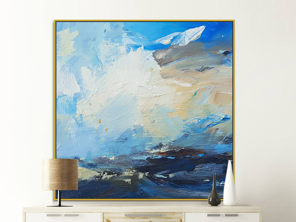 手绘现代蓝色白色抽象油画巨幅装饰画