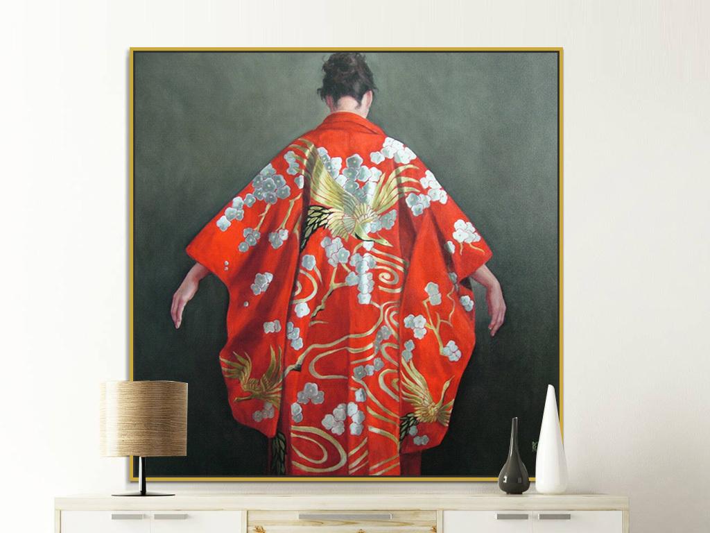 高清手绘红色美女背影裙子油画装饰画
