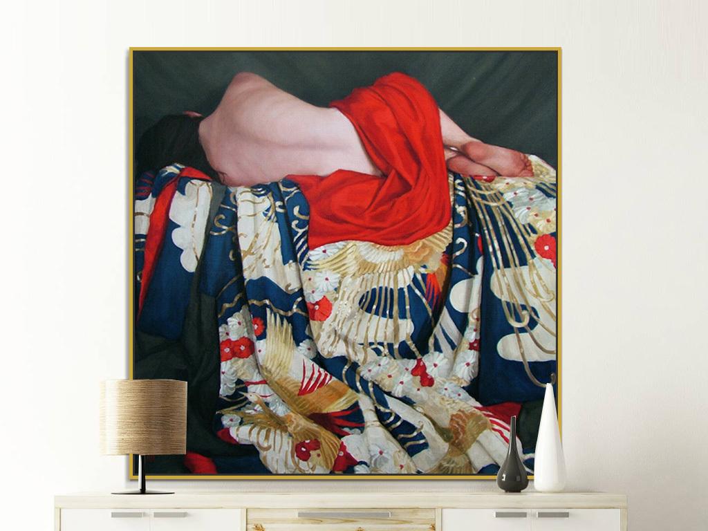 手绘红色美女女性侧卧高清油画装饰画