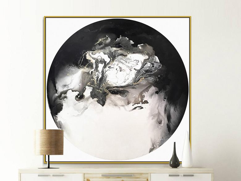 现代新中式黑色水墨抽象装饰画