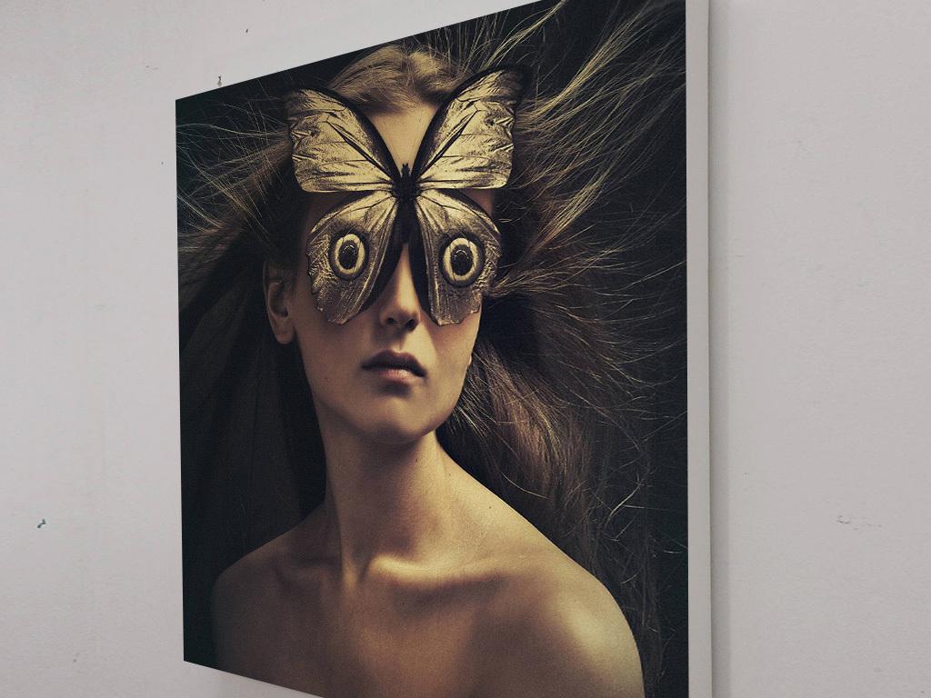 高清巨幅美女人物面具装饰画