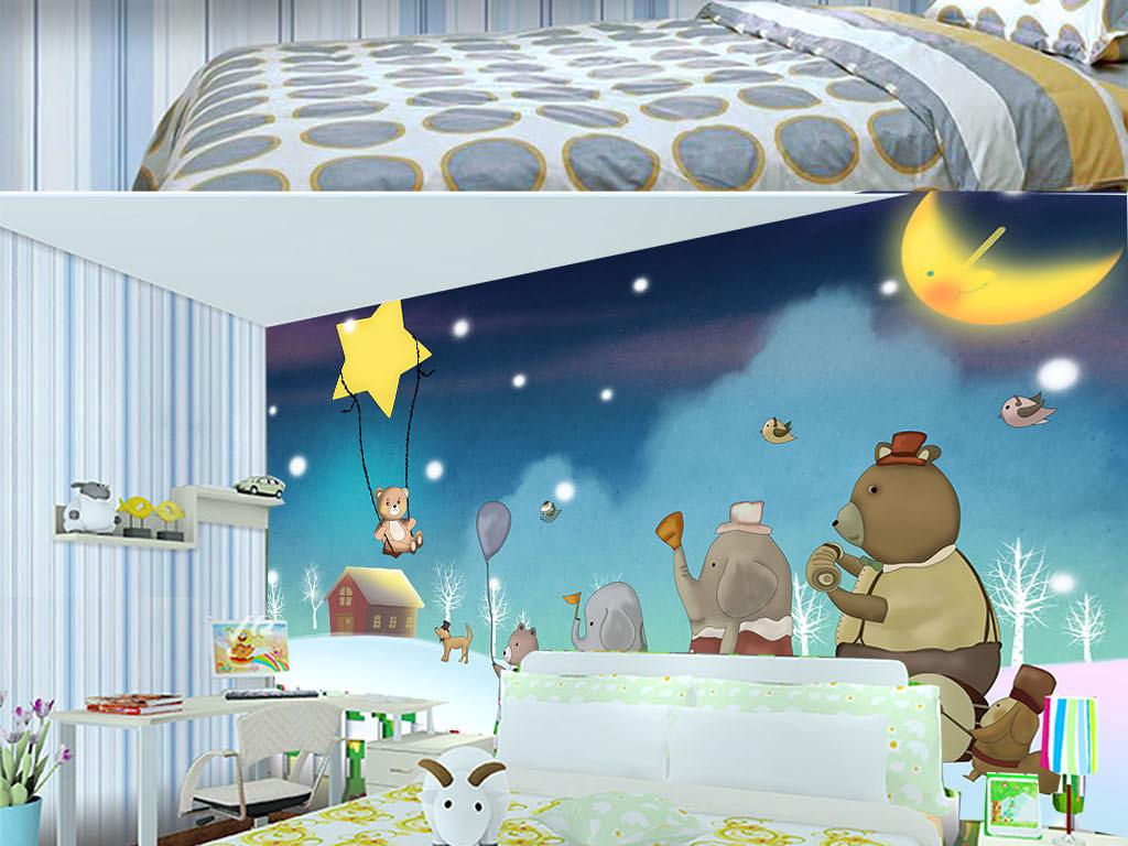 儿童手绘背景卡通电视背景墙3d电视背景墙艺术玻璃