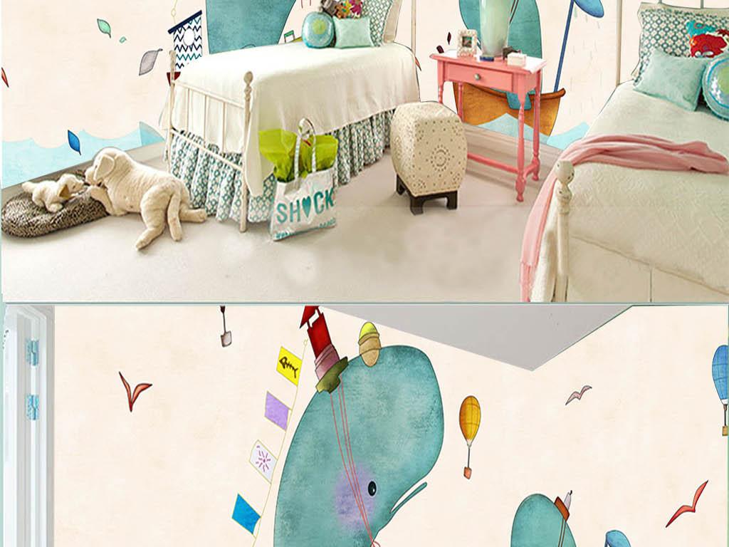 北欧海鸥手绘小船鲸鱼背景墙手绘背景墙氢气球卡通背景手绘背景手绘卡