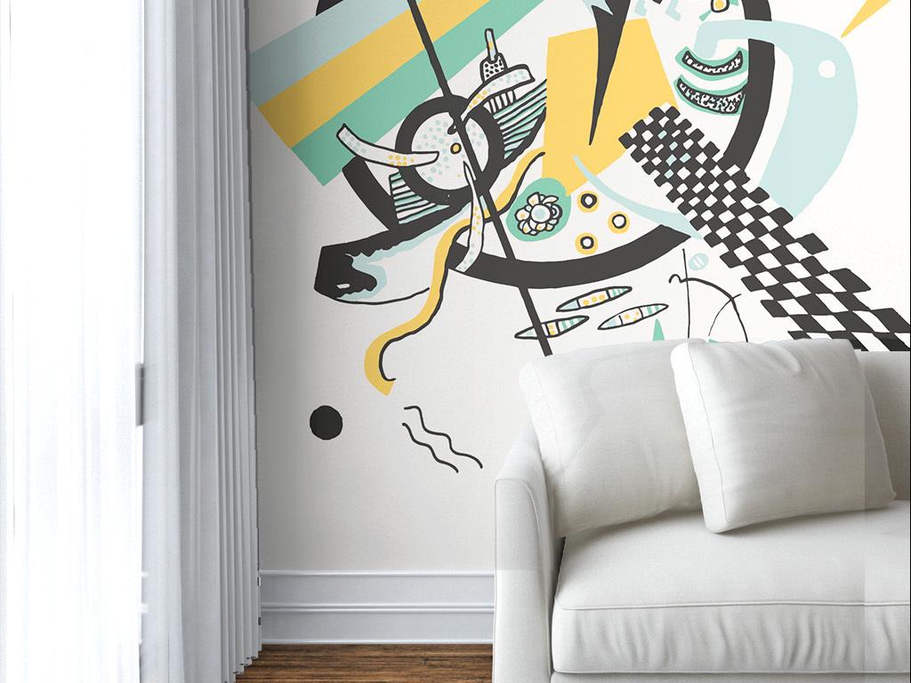现代简约手绘个性涂鸦墙纸