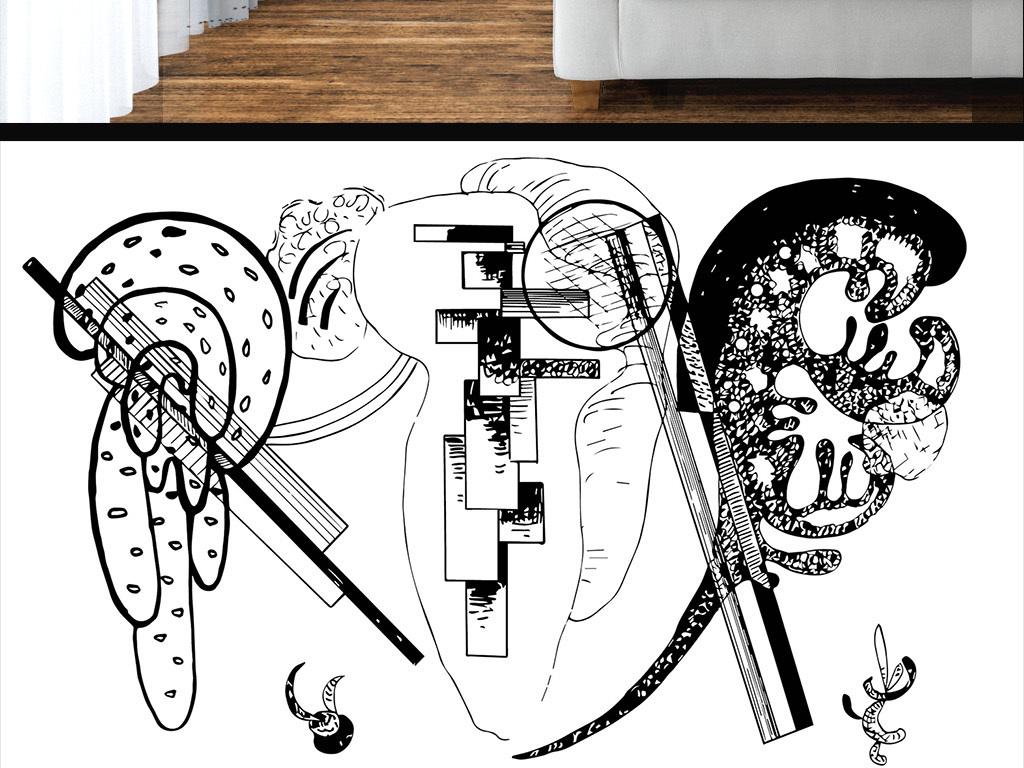 设计作品简介: 现代简约黑白手绘涂鸦墙纸 矢量图, rgb格式高清大图