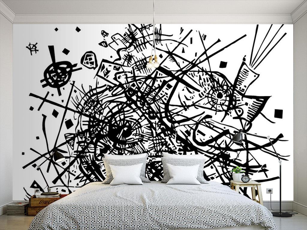 黑白手绘涂鸦墙纸素材