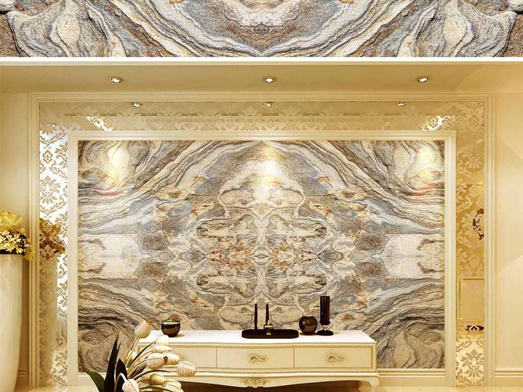 欧式复古石纹石材纹理拼花客厅大理石背景墙(图片编号图片
