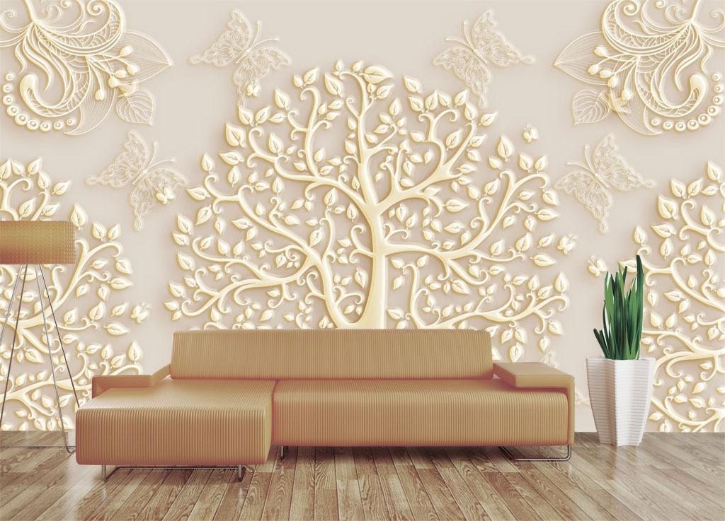 我图网提供精品流行2017欧式花纹树鸟蝴蝶电视背景墙