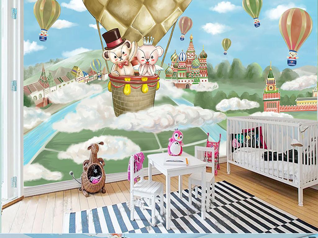 手绘热气球环游世界卡通背景墙