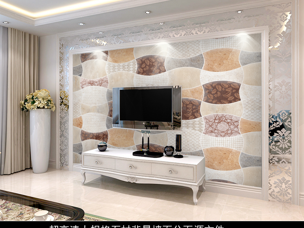 超高清欧式图形石材花纹墙纸