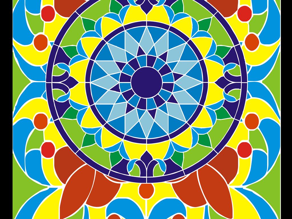 教堂玻璃蒂凡尼彩绘玻璃装饰画