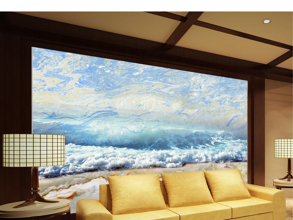 设计作品简介: 沙滩大海海浪风景电视背景墙